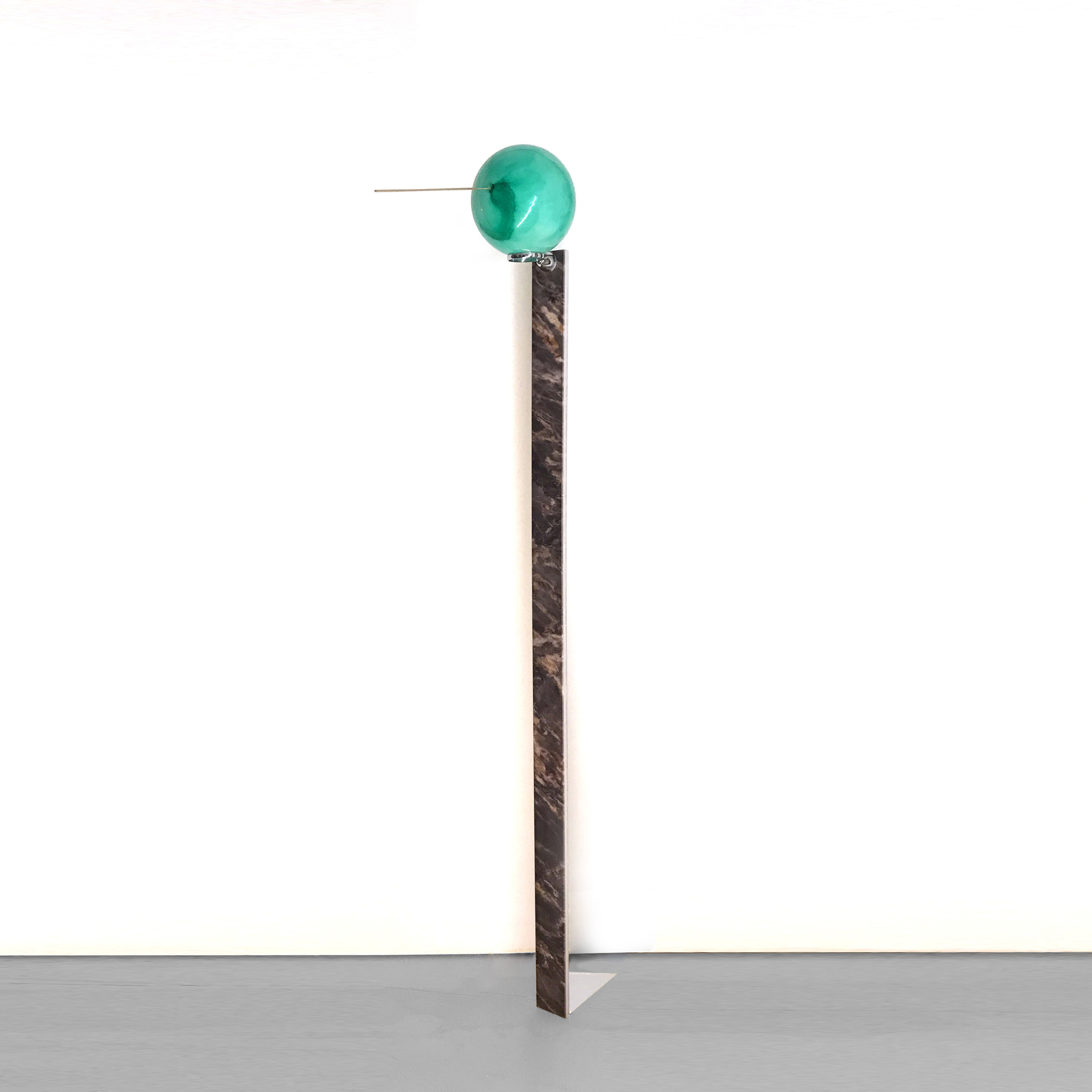 Nicola Gobbetto - I'LL NEVER LIE TO YOU (PINOCCHIO), 2019, digital printing on wood, enamel, aluminum, ball, incense, 32 x 16 x 167 cm