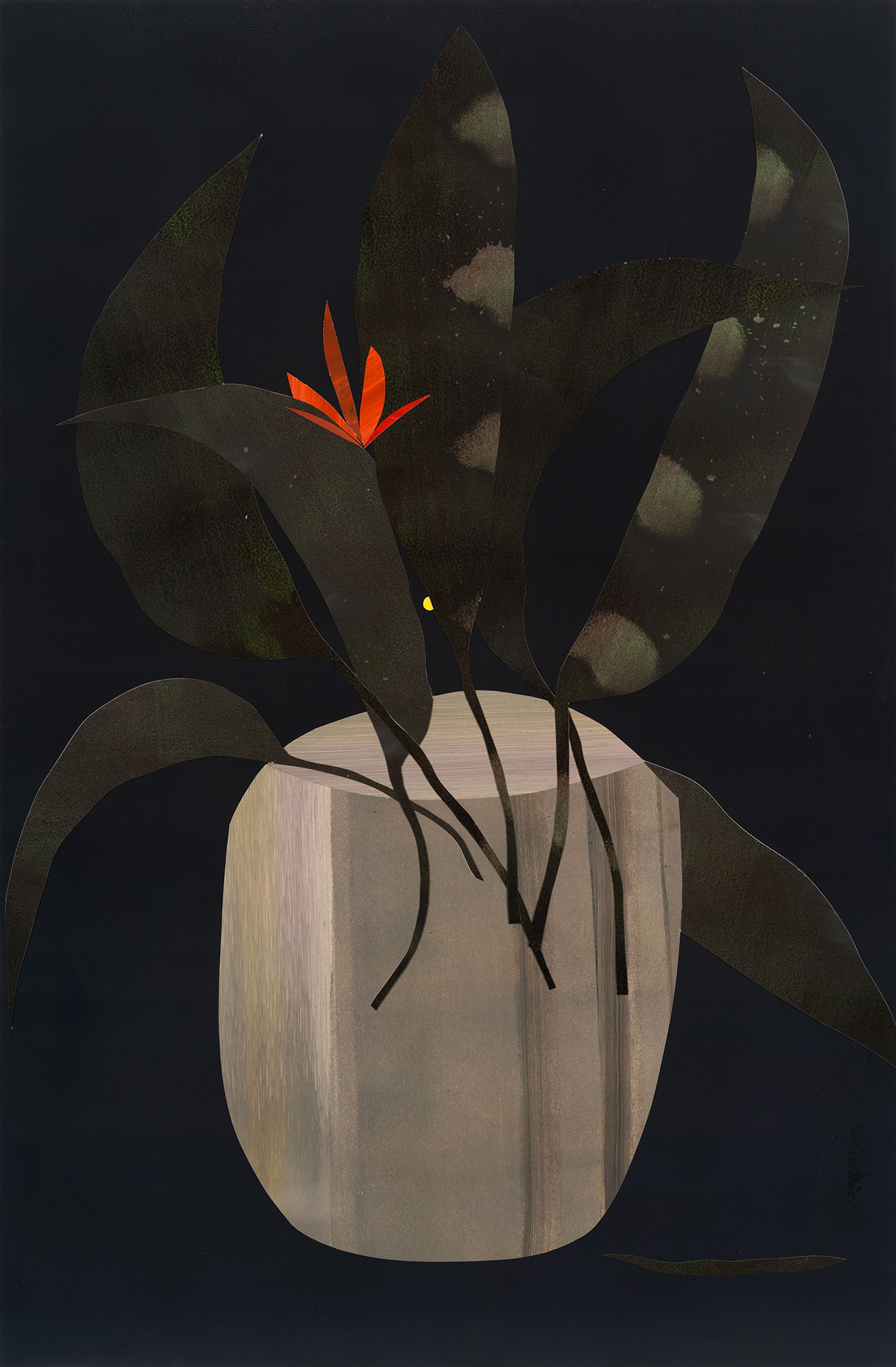 Mattia Barbieri - IKEBANA, 58,5 x89 cm, oil on paper cut out