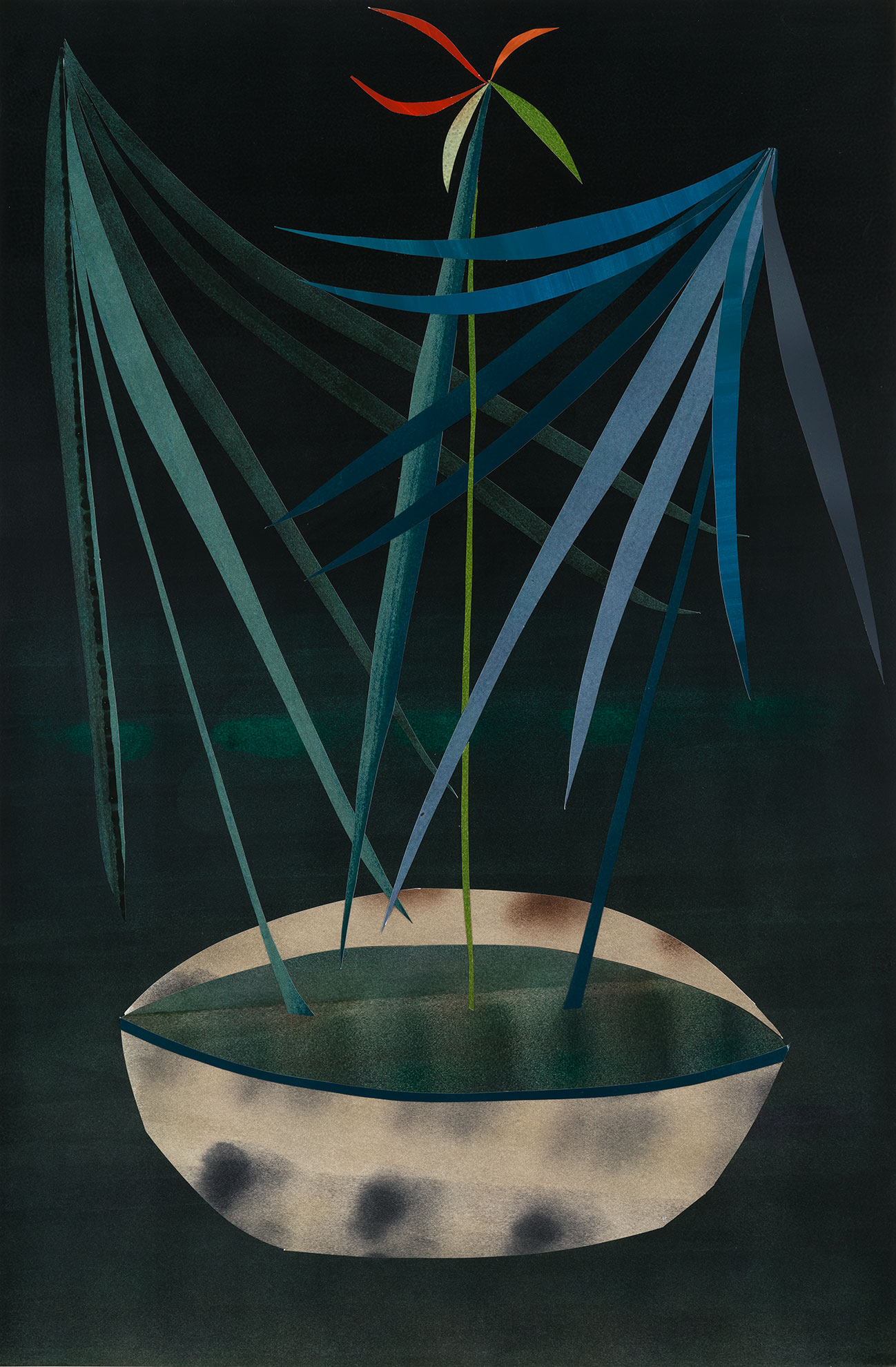 Mattia Barbieri - IKEBANA,58,5 x89 cm, oil on paper cut out